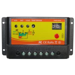 Régulateur solaire 10A 12V / 24V avec minuterie