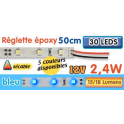 Réglette LED époxy 50 cm 2W4 12V bleue