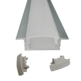 Lot de 2 Profils 1 m alu anodisé pour ruban LED 25x7 mm opaque