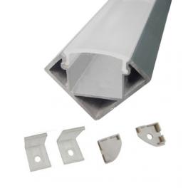 Lot de 2 Profils 1 m alu anodisé pour ruban LED 18x18 mm transparent
