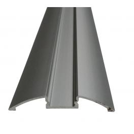 Lot de 2 Profils 1 m alu anodisé pour ruban LED 57x8.5 mm transparent