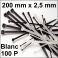 100 Colliers de serrage. Serre-câbles attache-câbles Blanc 200 x 2,5 mm