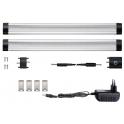 Kit 2 Réglettes LED aluminium 0m50 69 LED SMD blanc chaud