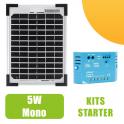 Kit panneau solaire monocristalin 5W 12V et régulateur 5A