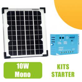 kit panneau solaire monocristalin 10w 12v et r gulateur 5a 54 90 starter kits solaires. Black Bedroom Furniture Sets. Home Design Ideas