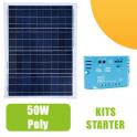 Kit panneau solaire polycristallin 50W 12V et régulateur 5A