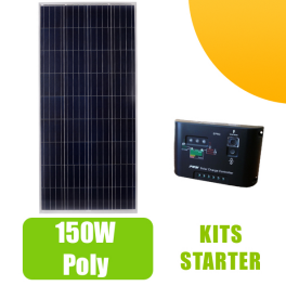 Kit panneau solaire 150W 12V et régulateur 10A