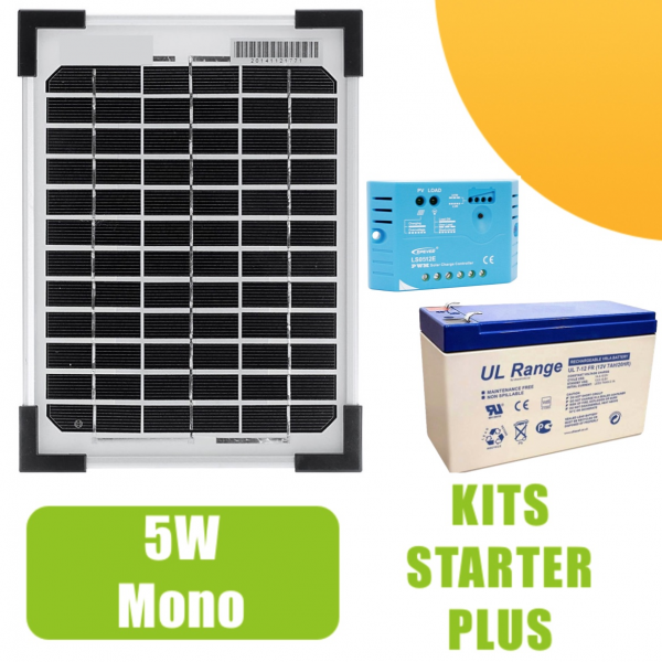 kit panneau solaire mono 5w 12v avec r gulateur 5a et. Black Bedroom Furniture Sets. Home Design Ideas