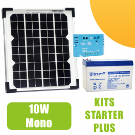Kit panneau solaire mono 10W 12V avec régulateur 5A et batterie