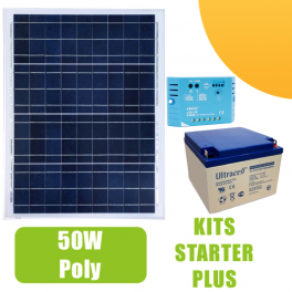 kit panneau solaire 50w 12v avec r gulateur 5a et batterie 197 50 starter kits solaires. Black Bedroom Furniture Sets. Home Design Ideas
