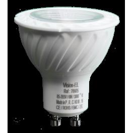 Spot LED 6W 230V à culot GU10 blanc chaud angle 80°
